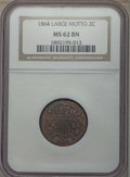Two Cent Pieces, 1864 2C Large Motto MS62 Brown NGC. NGC Census: (272/1189). PCGS Population: (214/997). MS62. Mintage 19,847,500. ...