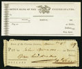 Miscellaneous, Bank of the United States (First) $100 check Jan.(?) 5, 1797;. Bank of the United States (Second) Unissued check to be i... (Total: 2 notes)