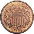 Two Cent Pieces, 1868 2C MS65 Red PCGS....