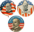 Political:Pinback Buttons (1896-present), William McKinley: Three Unusual Picture Pins.... (Total: 3 Items)