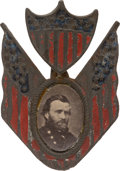 Political:Ferrotypes / Photo Badges (pre-1896), Ulysses S. Grant: Hand-Painted Albumen Badge with Resonant Portrait. ...
