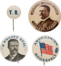 Political:Pinback Buttons (1896-present), Theodore Roosevelt: Four Assorted Campaign Buttons.... (Total: 4 Items)