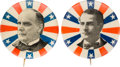 """Political:Pinback Buttons (1896-present), William McKinley and William Jennings Bryan: Matched Pair of Radiating Stars & Stripes Picture Pins in the Larger 1.25"""" Size. ... (Total: 2 Pair)"""
