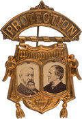 """Political:Ferrotypes / Photo Badges (pre-1896), Harrison & Morton: Cardboard """"Protection"""" Jugate with Lovely Patina...."""