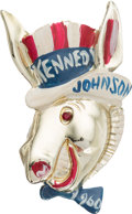 Political:Pinback Buttons (1896-present), John F. Kennedy: Rare and Distinctive Hand-Painted Donkey Brooch....