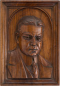 Political:3D & Other Display (1896-present), Herbert Hoover: Mahogany Portrait Wall Plaque in the Half-Round....