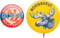 Political:Pinback Buttons (1896-present), Theodore Roosevelt: Pair of Colorful Bull Moose Buttons.... (Total: 2 Items)