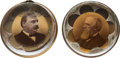 Political:Ferrotypes / Photo Badges (pre-1896), Cleveland & Thurman: Pair of Bridle Rosettes.... (Total: 2 Items)