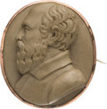 Political:Ferrotypes / Photo Badges (pre-1896), James A. Garfield: High Relief Carved Lava Cameo Brooch....
