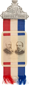 """Political:Ribbons & Badges, Harrison & Reid: """"Home Market Club"""" Jugate Ribbon in Mint Condition...."""