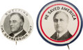 Political:Pinback Buttons (1896-present), Franklin D. Roosevelt: Pair of Depression-related Slogan Buttons from 1932 and 1936....