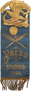 Political:Ribbons & Badges, [William McKinley]: Elaborate Press Ribbon Badge from 1896 Republican National Convention....