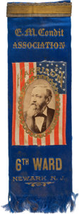 "Political:Ribbons & Badges, Benjamin Harrison: Highly Unusual Newark Ribbon with Harrison ""Flag"" as its Focal Point...."