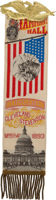 Grover Cleveland: Colorful and Graphic Tammany Hall Inauguration Ribbon