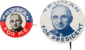 "Political:Pinback Buttons (1896-present), Harry S. Truman: Pair of ""Better"" Picture Pins...."