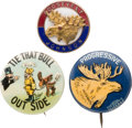 Political:Pinback Buttons (1896-present), Theodore Roosevelt: Three Bull Moose Party Items....