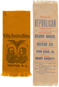 Political:Ribbons & Badges, Benjamin Harrison: Trenton and Paterson, New Jersey Ribbons.... (Total: 2 Items)