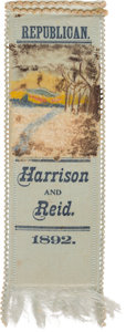 Political:Ribbons & Badges, Benjamin Harrison: Hand-Painted Landscape Silk Ribbon....