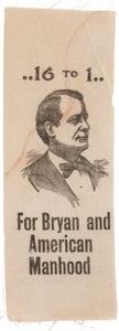 "Political:Ribbons & Badges, William Jennings Bryan: ""American Manhood"" Portrait Ribbon...."