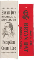 Political:Ribbons & Badges, William Jennings Bryan: Pair of One-Day Event Ribbons from 1908.... (Total: 2 Items)