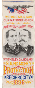 Political:Ribbons & Badges, McKinley & Hobart: Over-the-Top Woven Silk Jugate Ribbon....