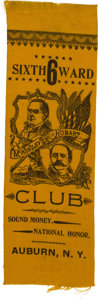 "Political:Ribbons & Badges, McKinley & Hobart: Gold Colored ""National Honor"" Jugate Ribbon from Auburn, New York...."