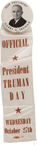 Political:Ribbons & Badges, Harry S. Truman: One-Day Event Ribbon with Picture Pin....