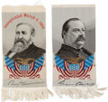 Political:Ribbons & Badges, Grover Cleveland and Benjamin Harrison: Matching Woven Silk Portrait Ribbons.... (Total: 2 Items)