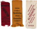 Political:Ribbons & Badges, Prohibition Party: Trio of Silk Ribbons from 19th Century State Conventions.... (Total: 3 Items)