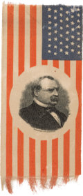 Political:Ribbons & Badges, Grover Cleveland: Portrait Ribbon in Desirable Flag Format....