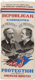 Political:Ribbons & Badges, Harrison & Morton: Graphic Jugate Woven Ribbon....