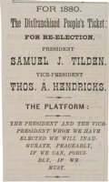 Political:Small Paper (pre-1896), Tilden & Hendricks: A Most Unusual 1880 Item. ...