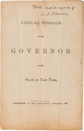 """Political:Small Paper (pre-1896), Samuel J. Tilden: Personally-Inscribed """"State of the State""""Message...."""