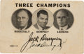 Autographs:Celebrities, Franklin D. Roosevelt and Jack Dempsey: A Roosevelt Campaign Card Autographed by the Champion Boxer....