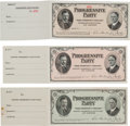Political:Small Paper (1896-present), Roosevelt & Johnson: Set of Three Currency Style 1912 Receipts. ... (Total: 3 Items)