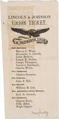Political:Small Paper (pre-1896), Lincoln & Johnson: Most Unusual Two Sided Electoral Ticket from New Jersey....