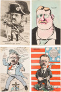 Political:Small Paper (1896-present), Theodore Roosevelt: Four Great Cartoon Postcards Made in France.... (Total: 4 Items)