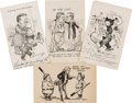 Political:Small Paper (1896-present), Theodore Roosevelt: Four Exceptional Berryman Teddy Bear and Baseball Cartoon Postcards.... (Total: 4 Items)
