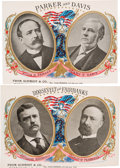 Political:Small Paper (1896-present), Roosevelt & Fairbanks and Parker & Davis: Set of Jugate Cigar Box Lid Labels.... (Total: 2 Items)