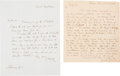 Political:Small Paper (pre-1896), [Henry Clay and John Tyler] Two Letters with Interesting PoliticalContent. ...