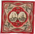 Political:Textile Display (pre-1896), Cleveland & Thurman: Graphic Red Jugate Bandana....