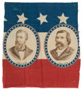 Political:Textile Display (pre-1896), Blaine & Logan: Large Red, White, and Blue Jugate Bunting. ...