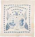 Political:Textile Display (pre-1896), Harrison & Morton: Jugate Starry Field Silk Scarf orBandana....