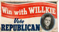 Political:Textile Display (1896-present), Wendell Willkie: Large Portrait Banner....