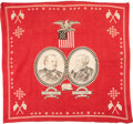 Political:Textile Display (pre-1896), Cleveland & Thurman: Jugate Turkey Red Bandana....