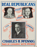 Political:Posters & Broadsides (1896-present), Coolidge & Dawes: Colorful 1924 Trigate Poster FromWisconsin....