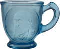 Political:3D & Other Display (pre-1896), Harrison & Morton: EAPG Blue Glass Jugate Cup....