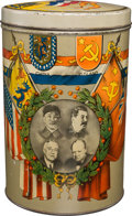 Political:3D & Other Display (1896-present), Franklin D. Roosevelt et al: Allied Leaders World War II Commemorative Biscuit Tin. ...