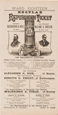 Political:Posters & Broadsides (pre-1896), Hayes & Wheeler: Large, Almost Broadside-Size Jugate Electoral Ticket from Massachusetts. ...