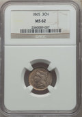 Three Cent Nickels: , 1865 3CN MS62 NGC. NGC Census: (365/1168). PCGS Population: (369/1492). MS62. Mintage 11,382,000. ...